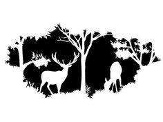 Illustration of animal of wildlife (deer) vector art, clipart and stock vectors. Silhouette Sign, Animal Silhouette, Stencil Art, Stencil Designs, Wood Burn Designs, Airbrush, Black And White Quilts, Deer Design, Wood Burning Patterns