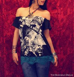Bohemian top off shoulder tube shirt turquoise lace summer festival Boho Hippie style tunic Upcycled clothing OOAK by TheBohemianDream