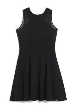 JAY GODFREY HARDY FIT & FLARE DRESS WITH MESH COMBO: Fit & Flare Dress with Mesh Combo 98% Poly, 2% Spandex STRETCH CREPE/MESH
