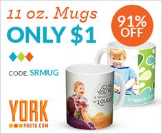 You can order your Customizable 11 oz. Mug for $1 from York Photo.  That's a saving of $9.99! Use Code: SRMUG. This is for New Customers Only. S&H Not Included. Order Quantity Limited To 1. One Time Use Of Code. So if you would like to make a mug for yourself or as a special gift, here's your chance.  http://ifreesamples.com/make-custom-designed-mug-1-00/