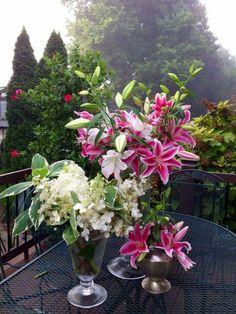lilies, hydrangeas