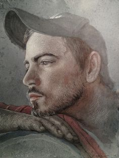 Johnny Stare; blue grey, sepia, red ink wash with white charcoal highlights.