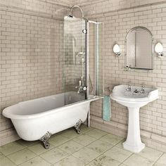 Burlington - Hampton 1700mm Showering Bath with Legs - Right Hand Option at Victorian Plumbing UK