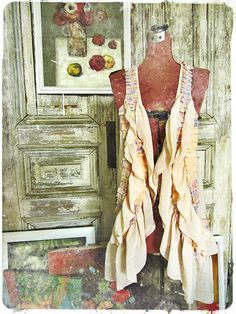 Upcycled Clothing / Tattered Peach Ruffle Long Vest / Mori Girl Clothing / Women Tops Vests / Boho Chic / One Size Fits Most