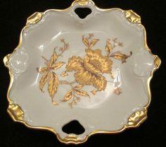 Vintage Cake Serving Plate Ottinger Sevelen Suisse Marked Numbered Gold Flower #OttingerSevelenSuisse