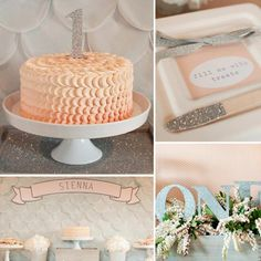 A Glitter-Filled, Silver and Peach First Birthday Party