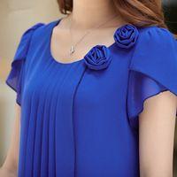 Blusa de la gasa 2016 summer tops mujer camisas blusas flojas ocasionales del o-cuello corto manga blusas tallas grandes blusas feminina 4XL