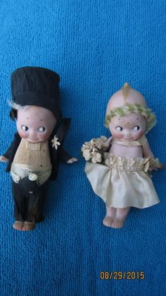 "4.5"" ORIGINAL KEWPIE BRIDE AND GROOM NO DAMAGE - ORIGINAL DRESS - CREP... Lot 27"