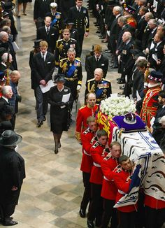The funeral of Diana, Princess of Wales (1961-1997). HM Queen Elizabeth II, Prince Philip, Duke of Edinburgh, Prince Henry of Wales, Prince William of Wales, Prince Charles of Wales, Charles Spencer...