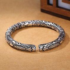 Vintage Punk 925 Silver Jewelry Fashion Snake Head Pattern Bracelet For Men Silver Bangle Bracelets, Bracelets For Men, Jewelry Bracelets, Bracelet Charms, Leather Bracelets, Fashion Bracelets, Jewellery, Mens Silver Rings, Gold Ring