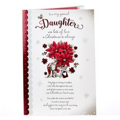 Christmas Card - Special Daughter, Bear & Flowers | Card Factory