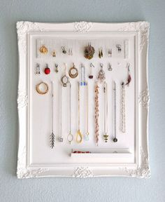 Home Tips White Frame For DIY Jewelry Organizer DIY Jewelry Organizer Plans Design
