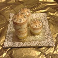 White and gold themed candle gift set for an engagement by @henna_bybella