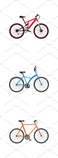 Set of Bicycle Design Flat Isolated. Objects. $5.00