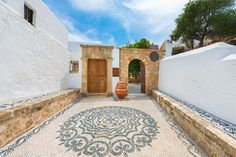 Entrance of Luxury Villa Eftihia in Lindos