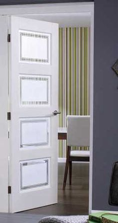 Contemporary 4 Glazed Internal White Doors