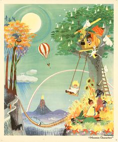 Moomin poster by Tove Jansson - The Rainbow House – The Official Moomin Shop Tove Jansson, Les Moomins, Moomin Shop, Moomin House, Rainbow House, 3d Art, Moomin Valley, Children's Book Illustration, Cool Art
