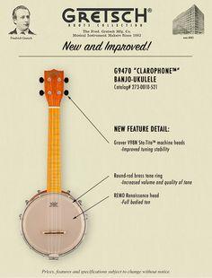 Gretsch G9470 Clarophone Banjo Gretsch G2185 Clarophone Uke Bag