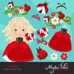 Ladybug Clipart Cute flowers little girls & borders. Summer