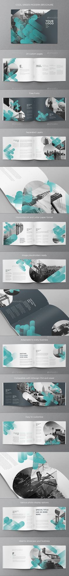 Cool Green Modern Brochure Template InDesign INDD. Download here: https://graphicriver.net/item/cool-green-modern-brochure/16988239?ref=ksioks