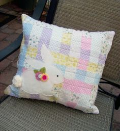 Material scraps woven pillow with bunny flower topper (free template)