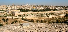 Overlooking Jerusalem from the  Mount of Olives. Jewish graves dot the slopes.