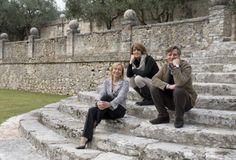 Marilisa Allegrini, Silvia Allegrini, Franco Allegrini on the steps of Villa Della Torre