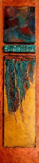"""MESABI"" 12056 by Carol Nelson mixed media ~ 24 x 5.5 - This painting is inspired by the iron ore mines of northern Minnesota, near where I grew up.  You can see that it is both multilayered and multitextured.   Numerous collage elements are included such as rusted iron, tyvek, and textured acrylic modeling compound.   It arrives ready to hang."