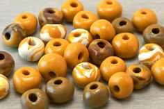 Polymer Clay Beads  Handmade  Spicy Mustard by OneUrbanTribe, $15.00