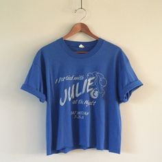 "1989 ""I Partied with Julie"" Vintage Crop This ones for Julie, wherever you are. Super soft royal blue tee with a raw edge crop and rolled sleeves. I love how random this is! Julie props to you for giving out these cool tees, wish I were invited!  BRAND: Screen Stars MATERIAL: 50/50 YEAR/ERA: 1989 LABEL SIZE: XL  MEASUREMENTS: Bust 21 inches Length 21.5 inches  Check out my closet for more vintage tees!  Vintage Tops Crop Tops"