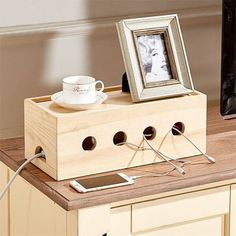 Wood Cable Organizer Box More
