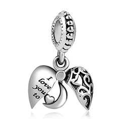 42c849613 Heart of Charms I Love You To The Moon And Back Charms Openable Heart Charms  Dangle Beads for Bracelets * For more information, visit image link.