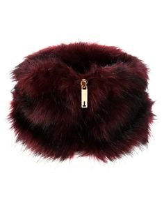 Faux fur collar with zipper - Mid Red | Scarves | Ted Baker