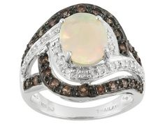 .77ct Oval Ethiopian Opal With .41ctw Round Andalusite, .10ctw White Zircon Sterling Silver Ring