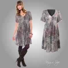 Sommer Kleid / Freizeitkleid mit Volant - Vintage-Look - Georgette Gr.42  NEU
