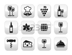 icone vigne: Vin boutons série - verre, bouteille, restaurant, nourriture