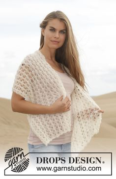 """Zephyr - Knitted DROPS scarf with lace pattern in """"Brushed Alpaca Silk"""". - Free pattern by DROPS Design Crochet Shawls And Wraps, Knitted Shawls, Crochet Scarves, Knit Crochet, Drops Design, Shawl Patterns, Knitting Patterns Free, Crochet Patterns, Free Pattern"""