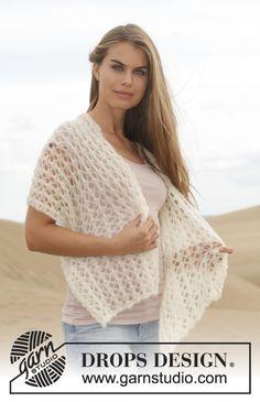"""Strikket DROPS halstørklæde i """"Brushed Alpaca Silk"""" med hulmønster. ~ DROPS Design"""