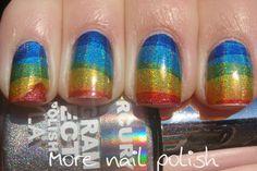 More Nail Polish: Holo rainbows using temporary tattoo paper