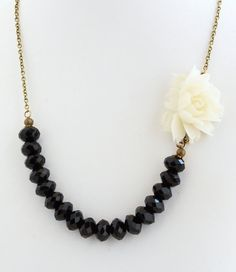 Flower Necklace Black and White White Rose by JacarandaDesigns