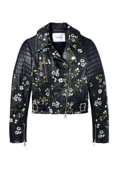 Leather jacket with beautiful delicate floral embroidery.