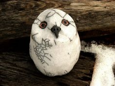 Raku Pottery White Owl Rattle Custom listing for by WildfirePotter, $45.00