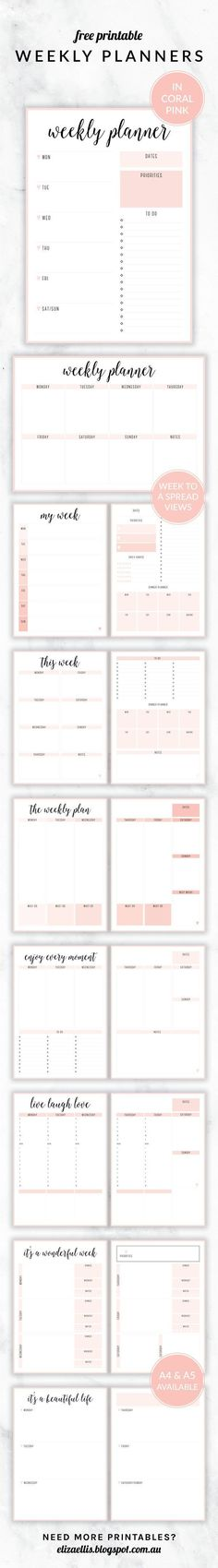 Free Printable Irma Weekly Planners in Coral by Eliza Ellis. With nine different styles, they're the perfect organizing solution for mums, entrepreneurs, bloggers, etsy sellers, professionals, WAHM's, SAHM's, students and moms. Available in 6 colors and both A4 and A5 sizes. Includes week to a page planners as well as week to a spread and two page planners. Enjoy!