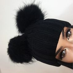 Double Pom Pom ribbed knit beanie hat.