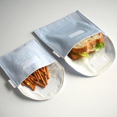 Eco Sandwich and Snack Bags, 100% Organic Cotton, Reusable. Want a cute, stylish and eco way to lunch? http://www.etsy.com/listing/98182498/eco-sandwich-and-snack-bags-reusable