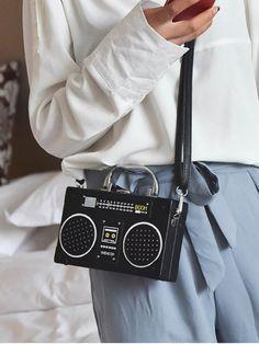 Faux Leather Radio Shaped Crossbody Bag - BLACK
