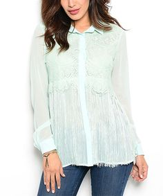 Loving this Aqua Lace Button-Up Top on #zulily! #zulilyfinds