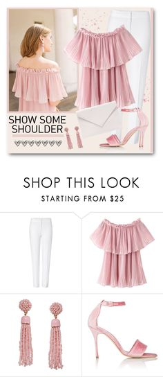 """""""Layered Off Shoulder Top"""" by brendariley-1 ❤ liked on Polyvore featuring ESCADA, Humble Chic, Manolo Blahnik, Verali and showsomeshoulder"""