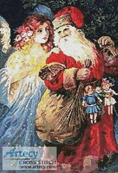 Santa and Angel - Christmas cross stitch pattern designed by Tereena Clarke. Category: Santa.