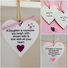 Handmade Personalised Daughter Quote Heart Plaque. This Bespoke Plaque Design is carefully handmade to order. They are created on 10cm X 10cm Chunky White wooden heart plaques. They come with some Rustic Twine to hang them with. The plaque/s are hand worded using Black adhesive lettering with the quote A Daughter is someone your laugh with, dream with & love with all your heart. The plaque can be ordered Non-Personalised or can be Personalised on the reverse of the Heart with up to...